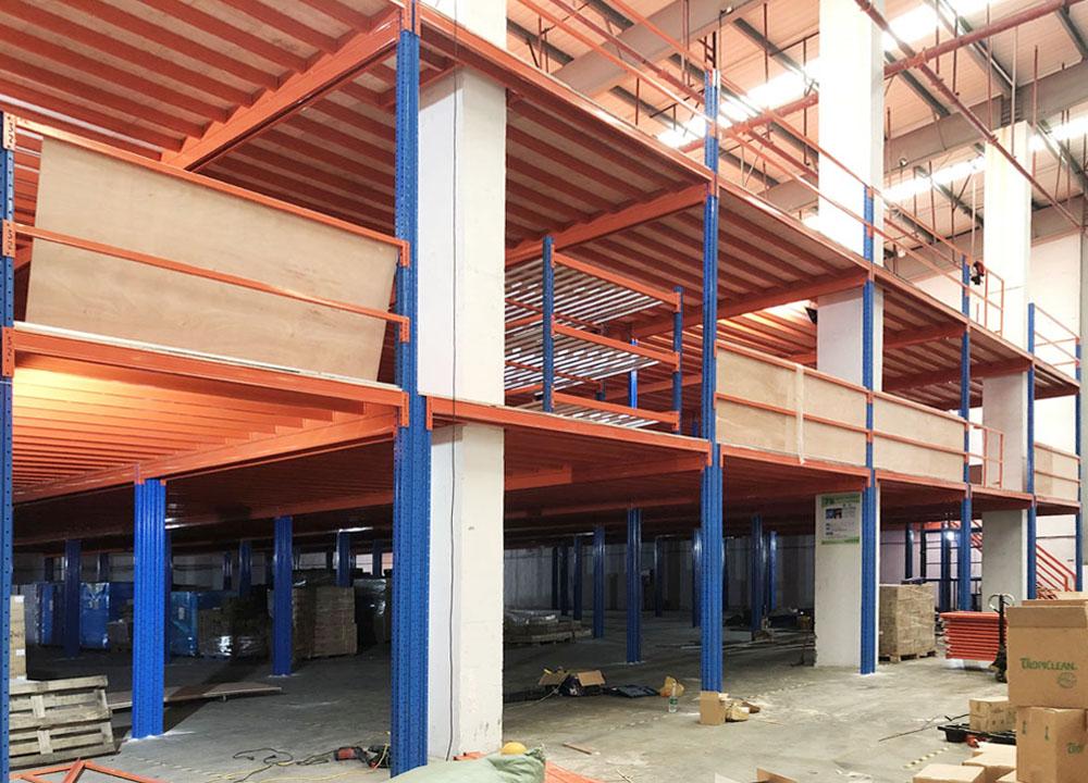 双层钢阁楼平台货架项目